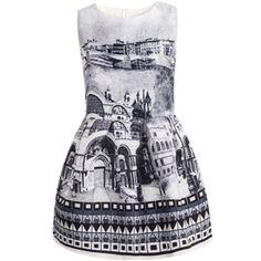 Grey Sleeveless Vintage Print Jacquard Dress   pariscoming