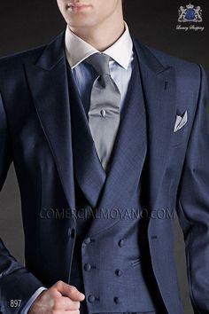 Traje de novio chaqué italiano tres piezas a medida, fil a fil azul, modelo 897 Ottavio Nuccio Gala colección Gentleman.