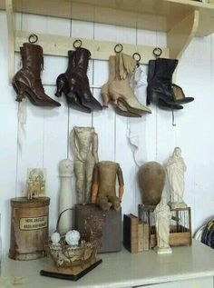 Inventive way to hang Victorian boots