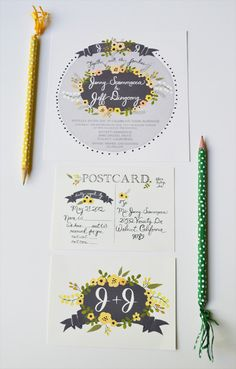 Vintage Floral Grey and Yellow Wedding by LOFTLIFEPRESS on Etsy.