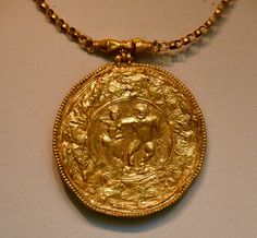 Byzantine Medallion with Pagan Imagery (by Osama Shukir Muhammed Amin) -- While Christianity was the state religion of the Byzantine Empire, pagan imagery remained popular. Knowledge of classical literature, which often portÉ History Encyclopedia, Pagan Gods, Cradle Of Civilization, Apa Style, Gold Medallion, History Education, University Of Minnesota, Latest Images, British Museum