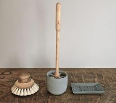 Iris Hantverk's brushes are handmade in Sweden by the visually impaired. The Round Bath Brush is made with horsehair, £12.50; and the Loo Brush comes with a small concrete pot, £34.95.