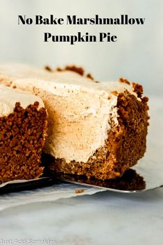 No Bake Marshmallow Pumpkin Pie is a heavenly fall dessert that's as  delicious as it is easy to make. You'll love the combination of  marshmallow and pumpkin flavors in the pie filling and the ginger snap  cookie crust is completely irresistible. #justaddsprinkles #nobake  #nobakerecipes #pumpkinrecipes #nobakepie #falldesserts