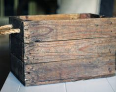 Rustic Wood Crate with Rope Handle (3 Boards Per Side)