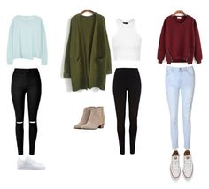 """""""School Outfits #1"""" by kinz-ee on Polyvore featuring J Brand, NIKE, Topshop, River Island, Golden Goose, Glamorous, Converse, women's clothing, women and female"""