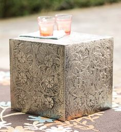 Etched Metal Cube Ottoman/Side Table