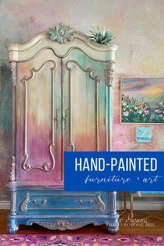 Funky Painted Furniture, Chalk Paint Furniture, Diy Furniture Projects, Refurbished Furniture, Farmhouse Furniture, Colorful Furniture, Repurposed Furniture, Furniture Makeover, Vintage Furniture