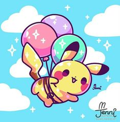 Super cute balloon pikachu digital art by I love kawaii pokemon fan art! Baby Pokemon, Pokemon Eevee, Pokemon Fan Art, Pokemon Fusion, Cute Kawaii Animals, Cute Animal Drawings Kawaii, Cute Drawings, Kawaii Doodles, Kawaii Art