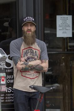 full thick long beard and mustache beards bearded man men mens' style street denim tattooed tattoos ink natural length handsome Beards And Mustaches, I Love Beards, Great Beards, Long Beards, Beard Love, Awesome Beards, Moustaches, Beard Styles For Men, Hair And Beard Styles