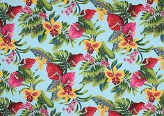 80'eu'eu Tropical Hawaiian plumeria,anthurium  flowrers, apparel cotton Hawaiian vintage style fabric.