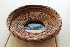 Brown Basket Pine Needle Basket One Of A Kind by CruisinCreations