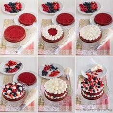 Red Velvet Sponge Cake with Red Fruits Olives in the … – Cupcake Recipes Red Velvet Cake Rezept, Bolo Red Velvet, Mini Cakes, Cupcake Cakes, Cupcakes Fondant, Red Velvet Cake Decoration, Cake Recipes, Dessert Recipes, Number Cakes