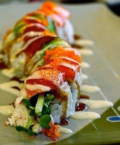 Sushi like a spicy caterpillar roll