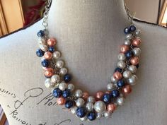 Cluster statement necklace in Ivory, navy and coral, coral wedding, Chunky pearl necklace, bridesmaid jewelry, navy coral wedding