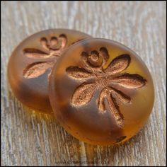 Czech Glass 18mm Dragonfly Coin Bead - Amber