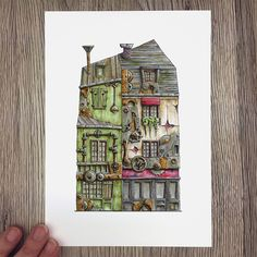 Info: Print, size : 21 x cm ( x in) Printed in Norway on Scandia 2000 white paper White Paper, A5, Colored Pencils, Norway, Bookends, Corner, Paris, House, Colouring Pencils