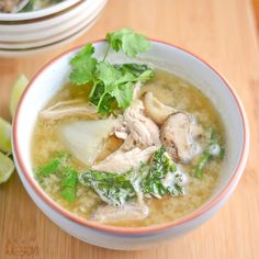 This chicken and vegetable miso soup is a healthy and refreshing dish. The recipe uses white miso, chicken, fresh shitake mushrooms and baby bok choy.