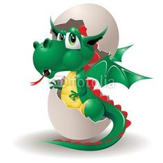 Baby Dragon Cartoon on Egg-2012 © Bluedarkat
