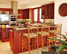Kitchen Breakfast Bar - tropical - kitchen - hawaii - Saint Dizier Design: I like this color palette (cabs, counter, & floor w/ stainless apps) Kitchen Bar Design, Tropical Kitchen, Tropical Kitchen Design, House Flooring, Kitchen Remodel, House Design Kitchen, Compact Kitchen Design, Home Kitchens, Bamboo House