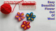 Easy Flower Making Out Of Wool and Comb / Woolen Flower Making Hand Embroidery Flowers, Hand Embroidery Stitches, Silk Ribbon Embroidery, Diy Embroidery, Embroidery Patterns, Crochet Patterns, Yarn Flowers, Crochet Flowers, Yarn Crafts
