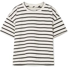 Current/Elliott The Roadie distressed striped cotton-blend T-shirt ($175) ❤ liked on Polyvore featuring tops, t-shirts, distressed white tee, loose t shirt, loose white t shirt, white t shirt and ripped t shirt