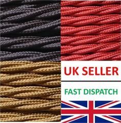 Fabric Braided Coloured Vintage Cable-  Industrial Two Core Lighting Lamp Flex
