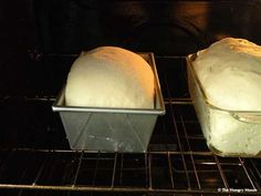 bread baking in oven