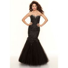 Mermaid Sweetheart Beading Lace Tulle Long Black Prom Dress