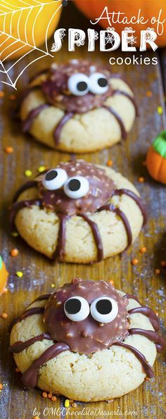 Quick and easy Halloween treat-Spider Cookies (yummy peanut butter cookies with Ferrero Rocher filling)