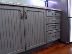 Grey/blue Glazed and Distressed Cabinets traditional kitchen Kitchen Cabinets And Flooring, Hickory Kitchen Cabinets, Antique Kitchen Cabinets, Refacing Kitchen Cabinets, Kitchen Cabinet Design, White Square Tiles, Distressed Cabinets, Yellow Cabinets, Traditional Kitchen