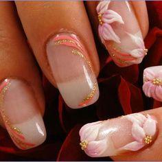 50 Diseños de Uñas con Flores en 3D - Flores Acrilicas - ε Diseños de Uñas Decoradas з
