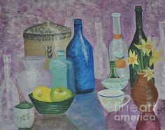 """I am honored. Thank you Denisse Del Mar Guevara and Fine Art America for featuring this work on the Food is Art Group.  Still Life In Spring  Acrylic 16""""x20"""" on a stretched canvas. Framed in a gallery spectrum espresso frame. Original Available   $540.00  Website http://sallytiskarice.com/STR/Welcome.html Follow on twitter https://mobile.twitter.com/SallyTiskaRice/followers"""