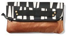 Cotton and leather fold-over clutch $54 by Gillian Hyde of Pip Robins Accessories, Toronto, ON, New More at: http://www.oneofakindshow.com/toronto/artisans.php?m=2&id=518571