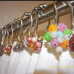 Shower curtain idea from http://kitsch-y-cool.blogspot.com/2011/08/fun-ideas-with-vintage-jewelry.html