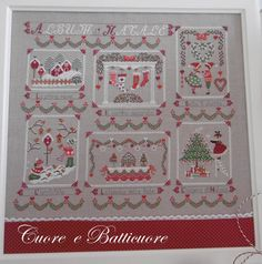 Stitch Count 320 x 273  Christmas pattern inspired by a romantic album of photographs, including the phrases in Italian (Album di Natale -