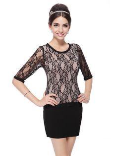 Elegant O-Neck Regular Half Sleeve Mini Lace Dress