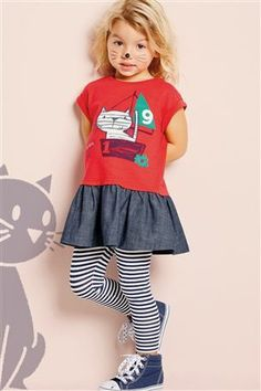 Buy Red Embroidered Cat Tunic And Stripe Leggings Set (3mths-6yrs) from the Next UK online shop