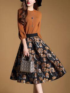 Shop Midi Dresses - Crew Neck Balloon Sleeve Swing Elegant Midi Dress online. Discover unique designers fashion at StyleWe.com.