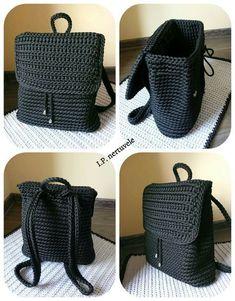 Crochet Backpack Pattern Inspiration / Crochet Bag from T-Sh .-Häkeln Sie Rucksackmuster Inspiration / Häkeltasche aus T-Shir-Garn – Salvabrani – Diy and Crafts Crochet Backpack Pattern Inspiration / Crochet Bag made of T-Shir Yarn – Salvabrani - Crochets En Crochet, Bag Crochet, Crochet Market Bag, Crochet Shell Stitch, Crochet Handbags, Crochet Purses, Love Crochet, Crochet Crafts, Crochet Yarn