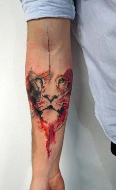 forearm abstract lion tattoo cimbom aslan dövmesi