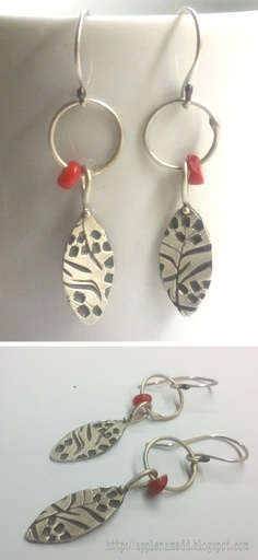 Coral leafs by apple named d     Sterling silver earrings with coral beads