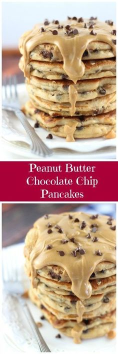 Peanut Butter Chocolate Chip Pancakes Recipe via The Gold Lining Girl - These peanut butter pancakes are surprisingly light and fluffy, but full of peanut butter flavor, as well as chocolate chips, and peanut butter chips!