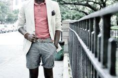 shorts, white jacket, bright shirt