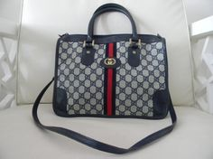 Vintage GUCCI MONOGRAM Cross Body TOTE with leather trim