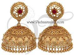 Large Gold Plated Large Jhumki Jhumka Jhumkas Indian earring earstuds