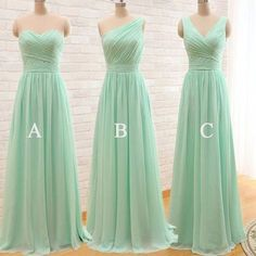 Mint bridesmaid dresses, mismatched bridesmaid dresses, chiffon bridesmaid dresses, long bridesmaid dresses, popular cheap bridesmaid dresses, NDS319 This dress could be custom made, there are no extra cost to do custom size and color. Description of long bridesmaid dress 1, Material: chif...
