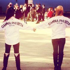 Love this #GammaPhiBeta spirit Jersey Idea! | Start a custom order today at Adam Block Design | Custom Greek Apparel & Sorority Clothes | www.adamblockdesign.com