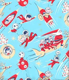 mid century space age gift wrap