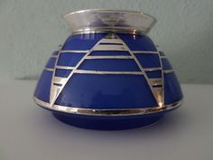 Blue glass Art Deco vase with silver hardware