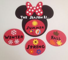 Kindergarten Preschool Disney Seasons Chart Cards Mickey and Minnie Mouse Red